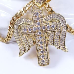 "Jewelry - 💚 Icy Angel Cross + 18"" Cuban Chain"